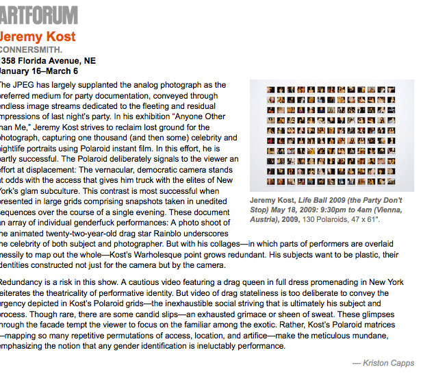 ArtForum Review of Anyone Other Than Me