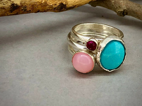Turqouise Dreams stacking rings.