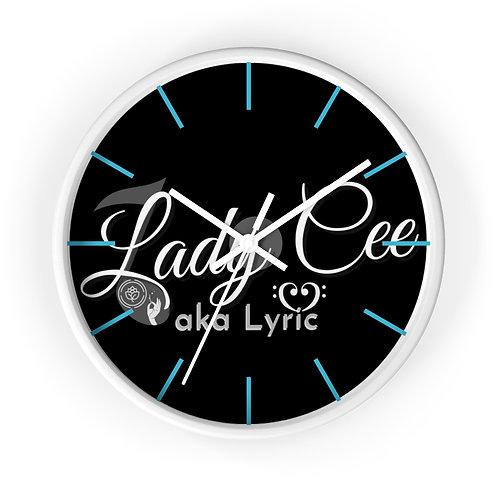 Lady Cee Lyric Logo Wall clock w/Blue Lines