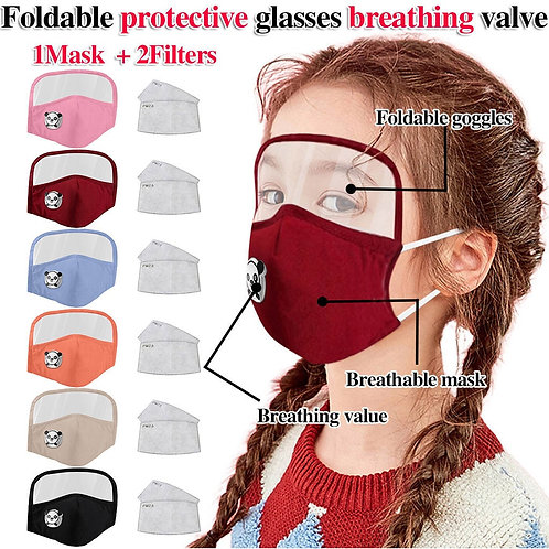 Child Dust proof Outdoor Face Protective Face Mask With Eyes Shield + 2 Filters