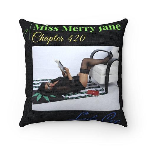 Miss Merry Jane Chapter 420/ MMJ Holdings Inc Logo Spun Polyester Square Pillow