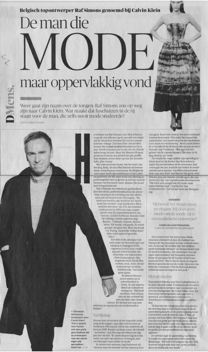 Luc Vanlessen over Raf Simons in DeMorgen