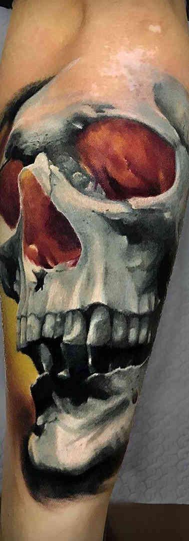 Skull Color Realistic Tattoo