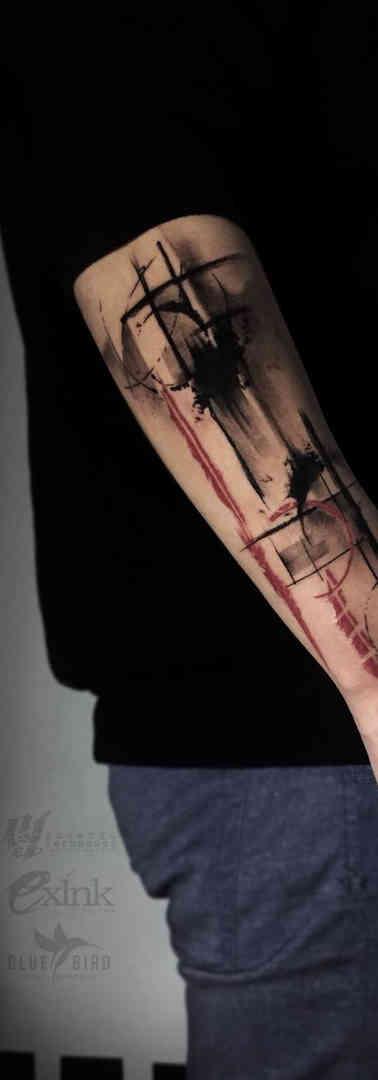 Abstract Trash Polka Tattoo