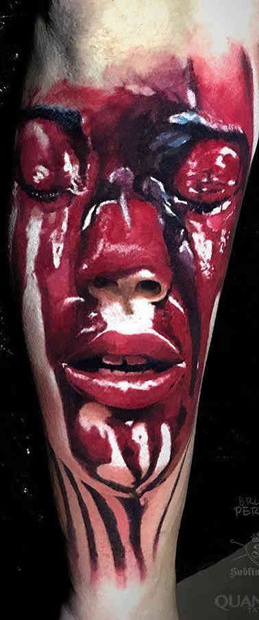 Blood Girl Color Realistic Tattoo