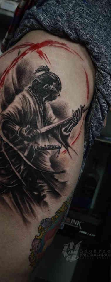 Samurai Trash Polka Tattoo