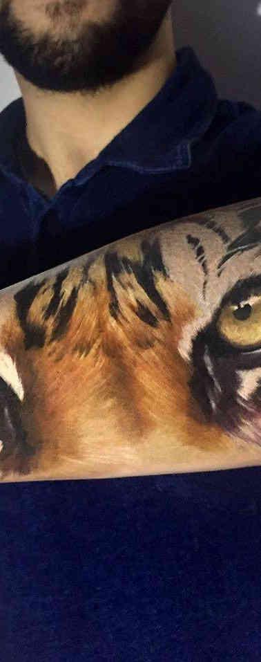 Tiger Color Realistic Tattoo