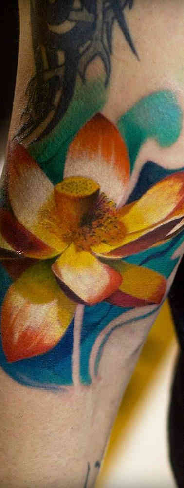 Flower Color Realistic Tattoo