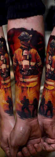 Firefighter Color Realistic Tattoo