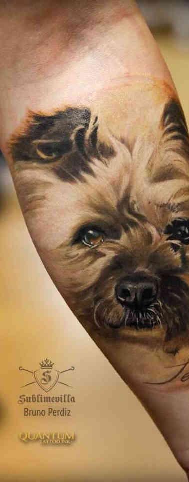 Dog Color Realistic Tattoo