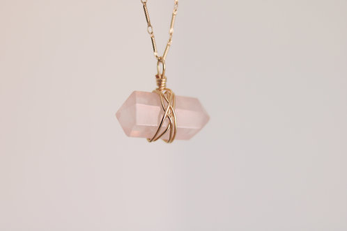 Rose Quartz + Gold Chain