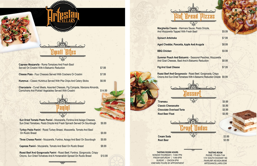 "Artesian Menu - For a list of all menu items, click on the ""Download Menu"" just above and to the right of this image."