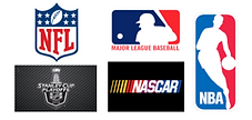 Official logos for the NFL, MLB, NBA, NASCAR and the Stanley Cup Playoffs