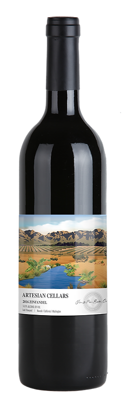 Artesian Cellars 2016 Zinfandel bottle with label highlighting mountains in the far distance, with agricultural land in front of the mountains and a stream running to the bottom of the label.