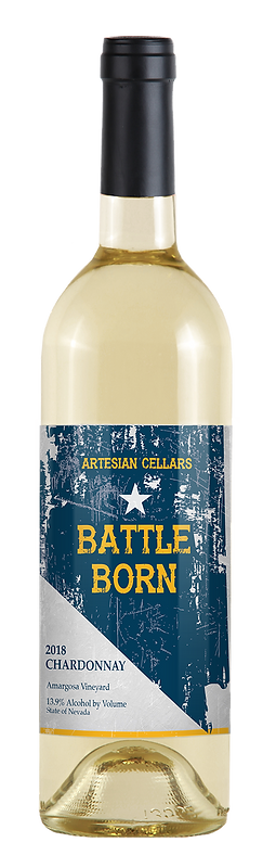 Artesian Cellars 2018 Battle Born Chardonnay from Amargosa Vineyard in Nevada. The label is silver and blue and yellow type.