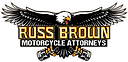 "Russ Brown Motocycle Attorneys Logo. A cartoon bald eagle image with the text reading, ""Russ Brown Motorcycle Attorneys."""