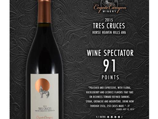 Wine Spectator Awards 91 Points to CCW 2015 Tres Cruces