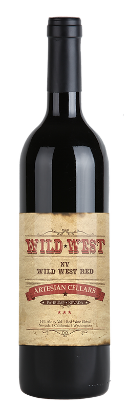 "Light brown distressed looking label with red and black type which reads, ""Wild West, Nevada. Wild West Red Wine. Artesian Cellars. Pahrump, Nevada. 14% alcohol by volume. Red Wine Blend. Nevada. California. Washington."