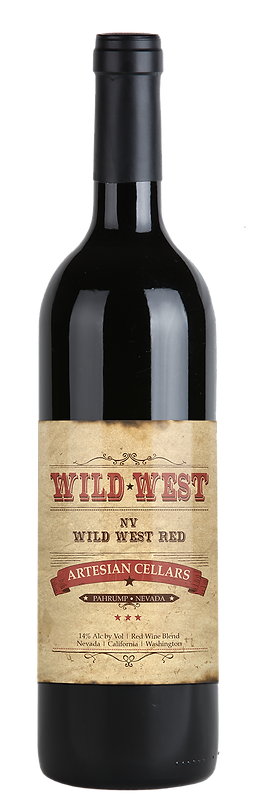 """Light brown distressed looking label with red and black type which reads, """"Wild West, Nevada. Wild West Red Wine. Artesian Cellars. Pahrump, Nevada. 14% alcohol by volume. Red Wine Blend. Nevada. California. Washington."""