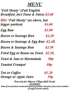 Brunch menu skipsea Village Hall