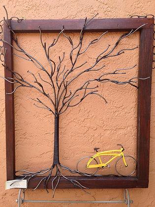 Tree of Nails & Yellow Bike