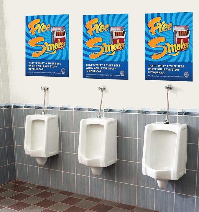 Free Smokes Anti-Crime Urinal Ads
