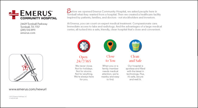 Emerus New Hospita Postcard Back