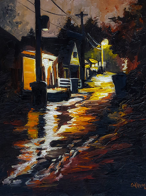 Rainy Night Alley Lights