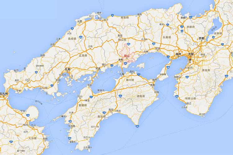 岡山県周辺の地図