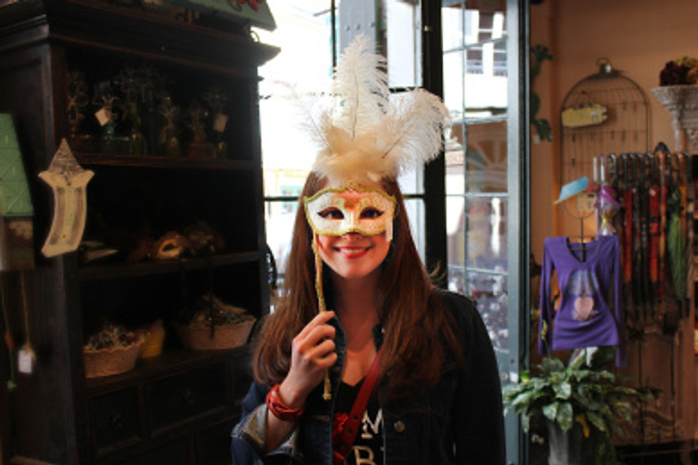 Shopping in the French Quarter. I loved all the beautiful masks.