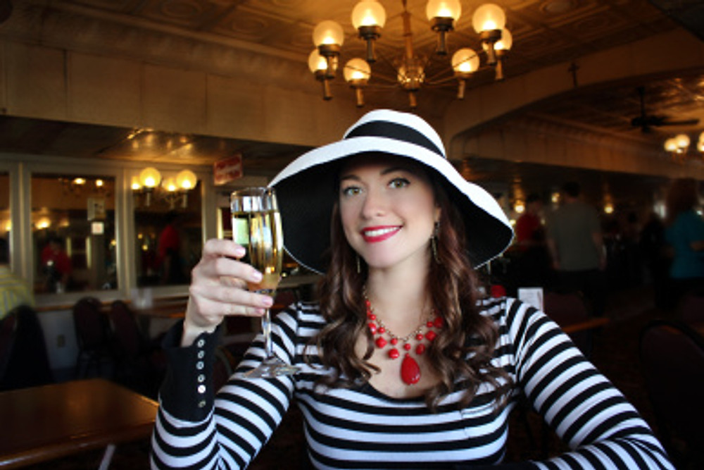 A champagne toast on our Jazz Lunch Cruise aboard the Natchez Steamboat.
