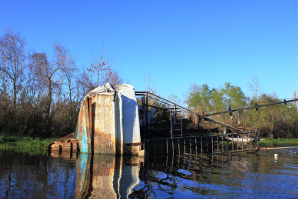 This wrecked ship is left over from the disaster of Katrina.