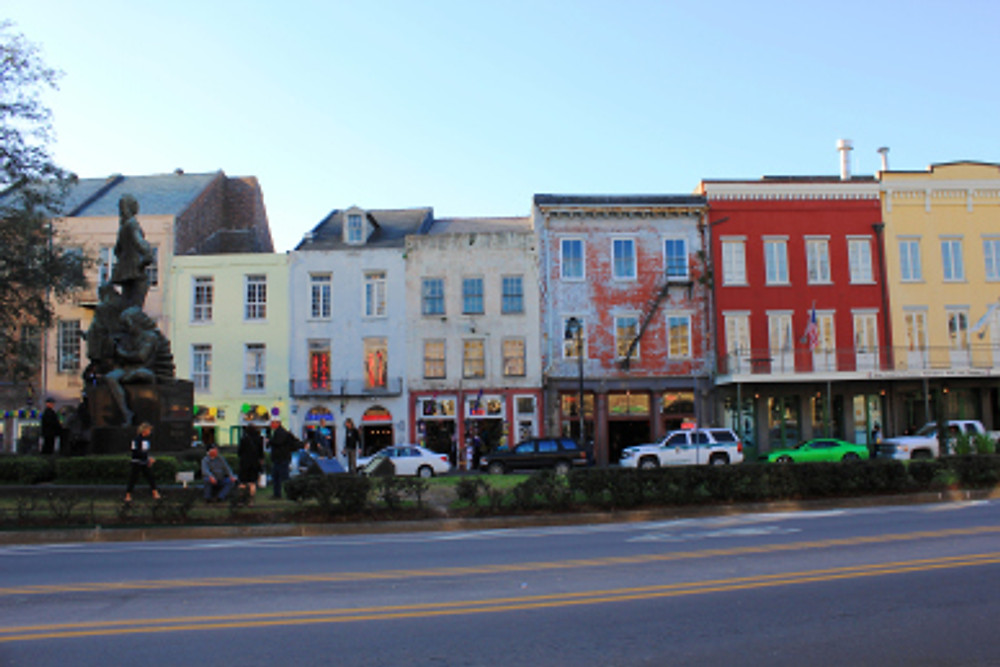 The lovely French Quarter, featuring colorful European architecture.