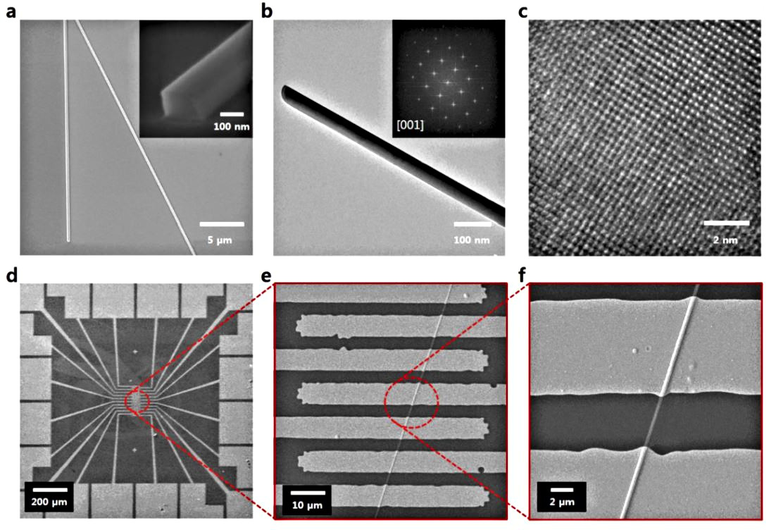 SEM and TEM images of a VO2 nanowire (NW) and a chip.