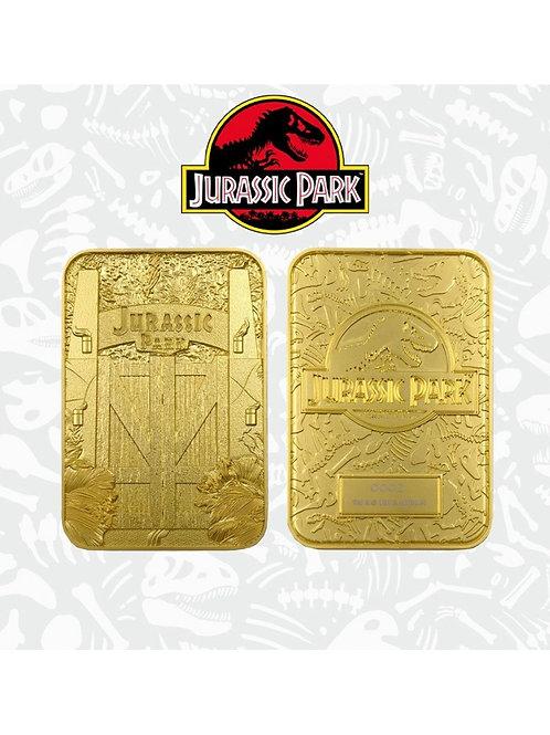 JURASSIC PARK CARD METAL ENTRANCE GATES GOLD PLATED