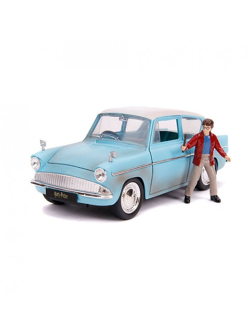 HARRY POTTER HOLLYWOOD RIDES DIECAST MODEL 1959 FORD ANGLIA WITH FIGURE