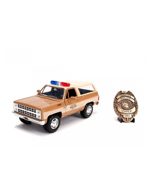 STRANGER THINGS DIECAST MODEL CHIEF HOPPER'S CHEVY K5 BLAZER WITH BADGE