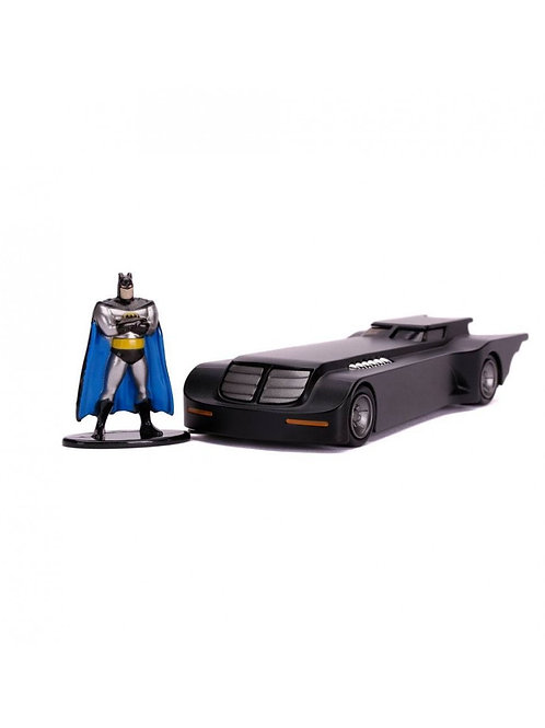 BATMAN ANIMATED SERIES HOLLYWOOD RIDES DIECAST MODEL BATMOBILE WITH FIGURE