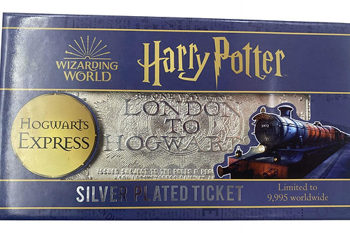 HARRY POTTER REPLICA HOGWARTS TRAIN TICKET LIMITED EDITION SILVER PLATED