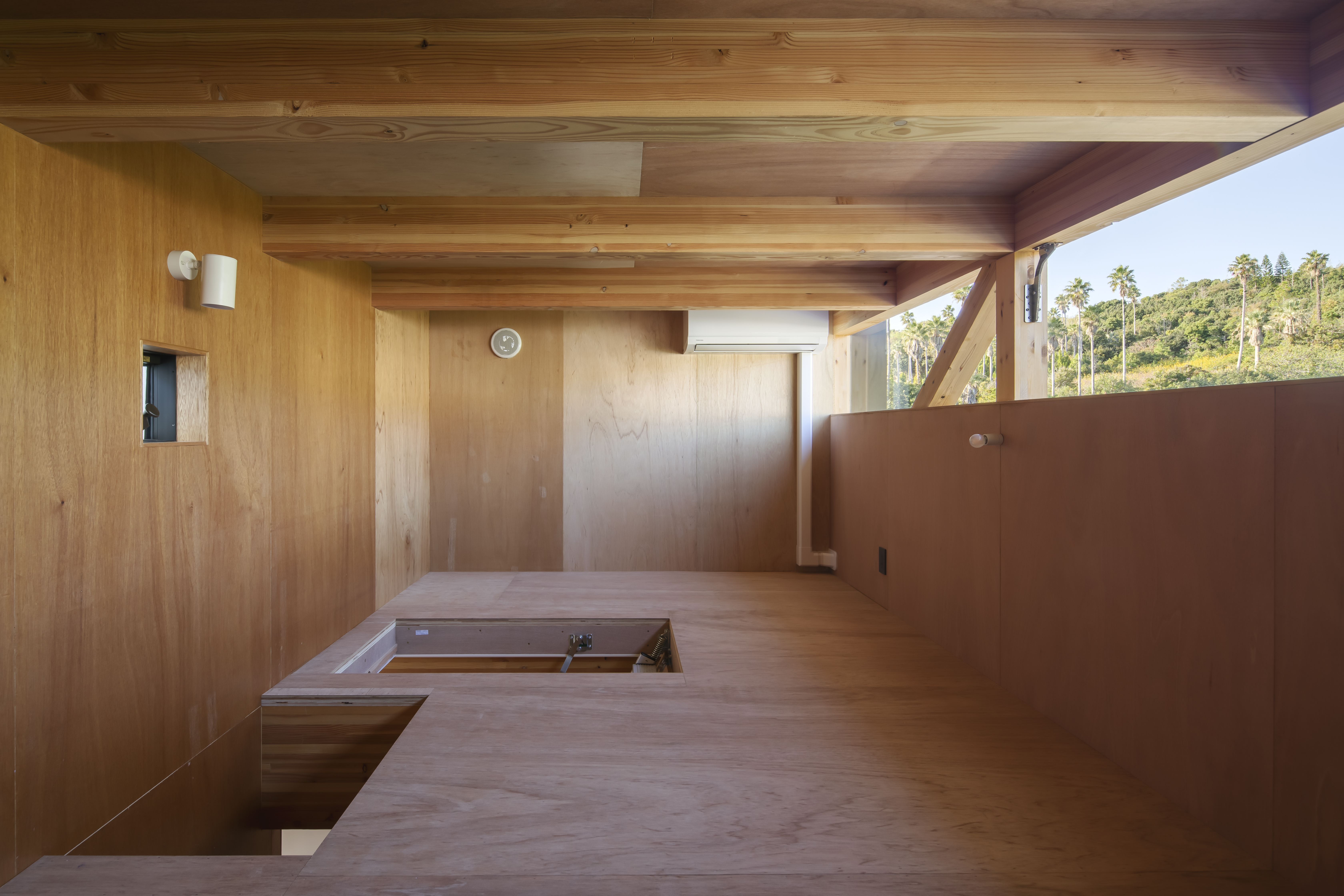 Mountain View Living Space with lavan plywood (attic)