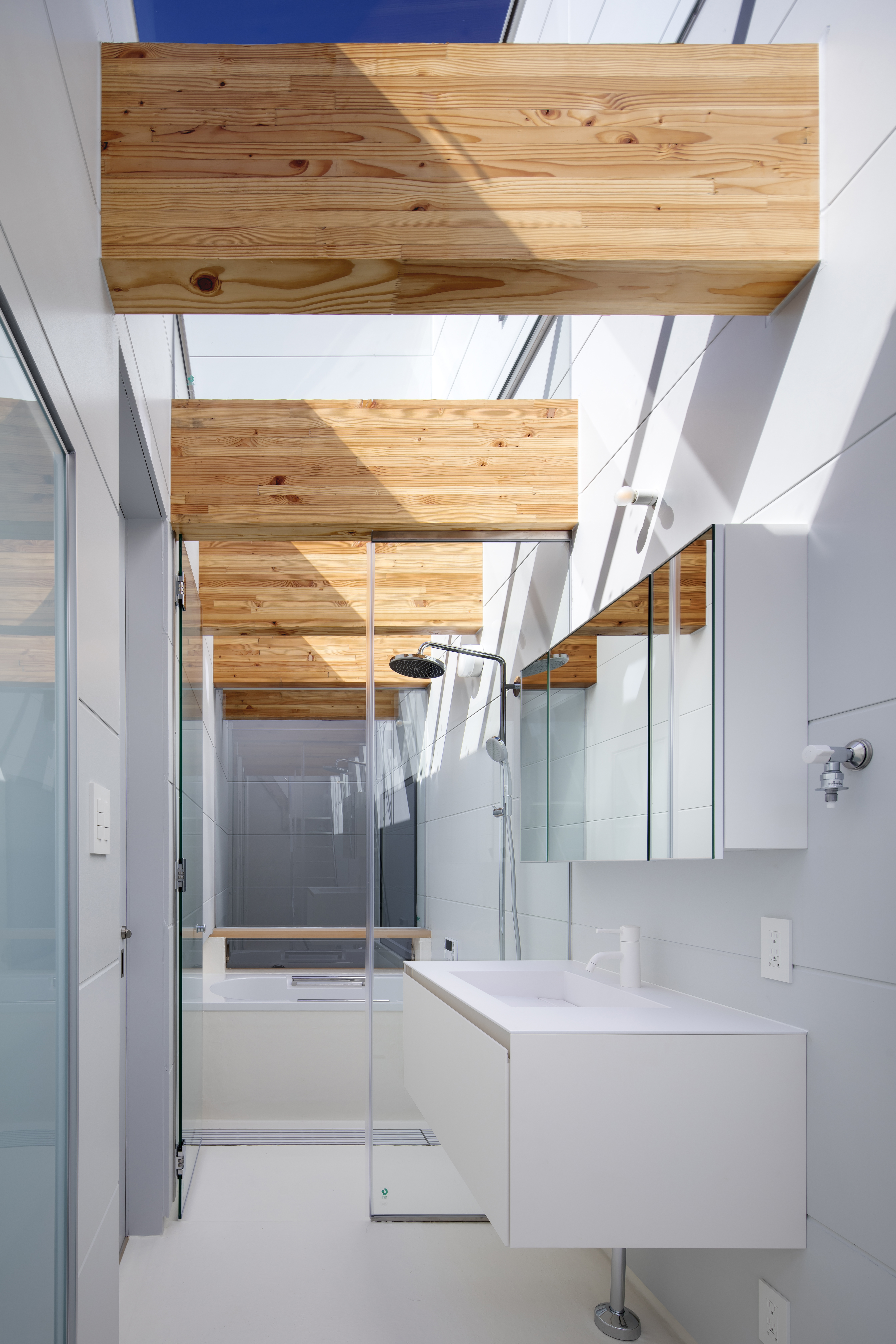 Sky View Living Space with Updraft Air Shaft beyond the shower room