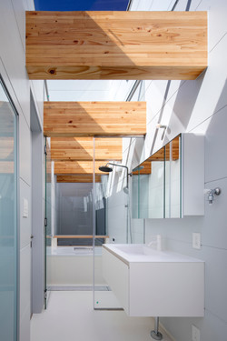 Sky View Living Space with Updraft Air Shaft beside the shower room