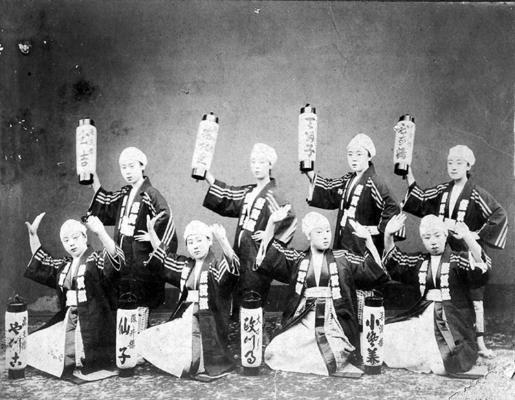 Around 1905_Eight geisha, representing each of eight 'Okiya7(geisha houses) in Nara
