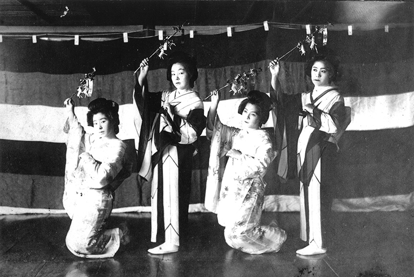 Around 1932_Geisha are dancing,accompanied with the special song and music called _Nara Ko-uta__