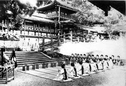 1928_Geisha are about to dance in front of Shinto gods at Kasuga Grand Shrine