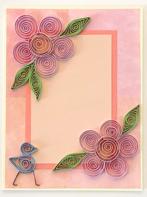 Blue Bird Series – Five Petal Flowers in Pink and Peach