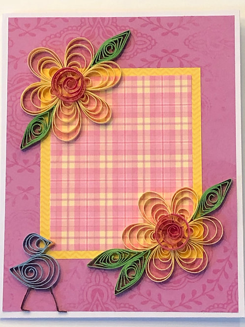 Blue Bird Series – Pink and Yellow Floral Design