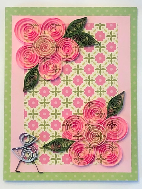 Blue Bird Series – Pink Floral Design On Floral Background