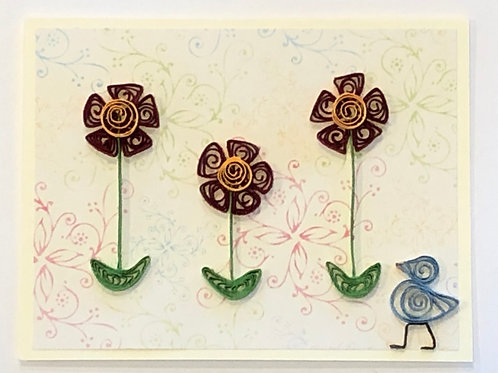 Blue Bird Series- Flower Garden (Red and Gold)
