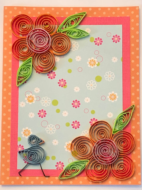 Blue Bird Series – Floral Print With Orange And Pink Flowers